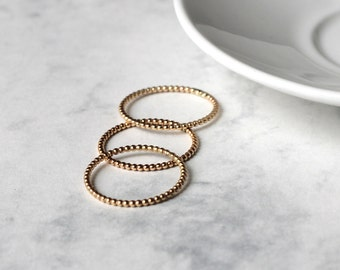 Dotted Stacking Ring Set - Gold Fill