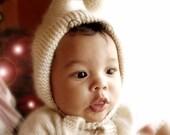100% Cashmere Newborn Knox Hood hand knit baby hat beanie