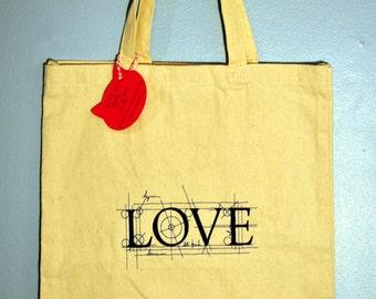 Embroidered Tote Bag - Canvas Tote Bag - Shopping Bag - Love Architectural Bag - Book Bag - Shoulder Bag - Knitting Bag