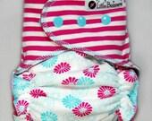 Cloth Diaper AI2 Made to Order - Combo Stripes and Dahlias - You Pick Size and Style - Custom Cloth Nappy AI2 Fuchsia Pink Aqua Mint