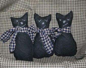 Primitive Grubby Halloween, Fall Black Cats Ornies, Bowl Fillers