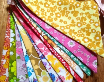 Vintage Fabric Floral Rainbow Bunting Flags Banner