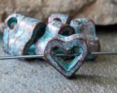 6.5mm Open Heart Charm Mykonos Greek Green Patina : 6 pc Metal Casting Heart Greek Verdigris Bead