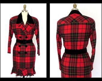 Vintage Tartan Dress/ Black/Red Dress/ Fitted Trumpet Dress/ Velvet Trim Sz Sm.