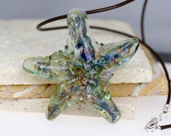 Starfish Necklace - Lampwork starfish - Starfish pendant - Glass starfish necklace - Ocean necklace - Artisan necklace - Artisan pendant