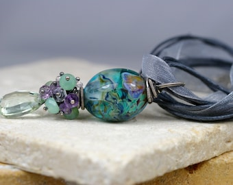 Wire Wrapped Pendant, Gemstone Necklace, Lampwork Necklace, Lampwork Pendant, Artisan Necklace, Cluster Necklace, Floral Necklace, Gifts
