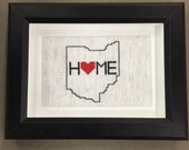 "Handmade cross stitch Ohio 4""x6"" 5""x7"" OHIO framed white black interior design wall art home art OTR HOME love states quality shadowbox"