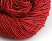 Hand Dyed Aran weight mini Empire Rambouillet Wool 213 yds 4oz Cherry Pie