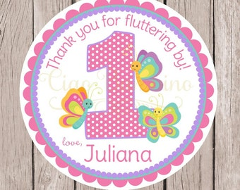 Butterfly Birthday Party Favor Tags or Stickers / Choose Any Age / Pink, Lavender and Aqua Blue / Set of 12