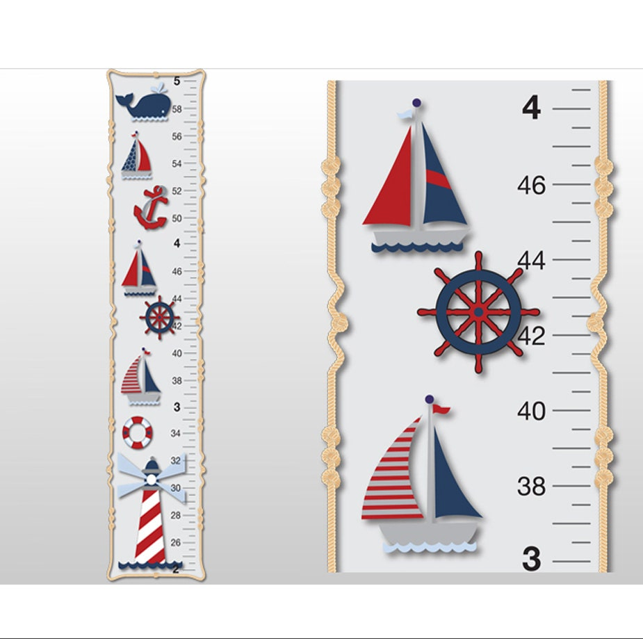 nautical growth chart ocean boat whale anchor light house boys zoom