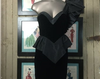 On sale 1980s dress coctail dress size x small vintage dress 80s climax dress one shoulder dress black dress velvet dress