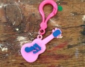 1980s Charm Necklace Pink Guitar