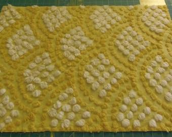 Chenille Bedspread Fabric Rare Vintage Golden Yellow White Popcorn Fabric sewbuzyb