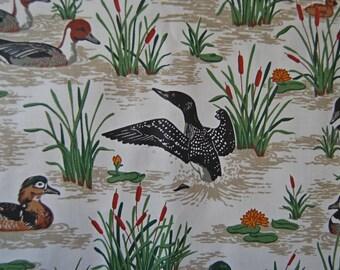 Water birds ducks marshland vintage 70s cotton fabric OOP screen print