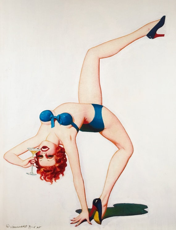 Pinup MARTINI TIME by Enoch Bolles Art Deco Flapper Pin-Up Original Available 20X24 Canvas