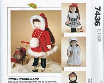 "McCalls 7436  Doll Clothes 18"" Nightgown Bonnet Dress Skating Costume Skates Cape Tights Boots Headband Sewing Pattern UNCUT"
