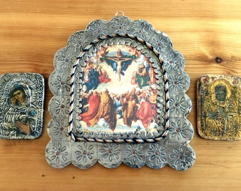 Religious Art Triptych: Folk Art Mexican Tin Framed Crucifixion Print, Pair of French Icons. Vintage 1970s Madonnas, Gold & Silver.