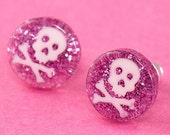 Glitter Skull Ear Posts - Studs - Skull Stud Earrings - Pink & White