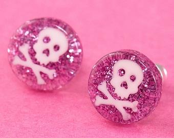 Glitter Skull Ear Posts - Studs - Skull Stud Earrings - Pink & White