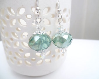 Mint Green Glass Crystal Bead Earrings, Chunky Bead Earrings, Mint Dangle Earrings, Drop Earrings, Fashion Jewelry, Sparkle Gift Idea
