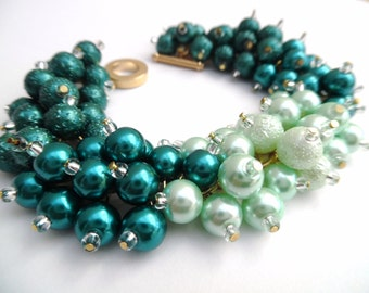 Teal and Mint Ombre Bracelet, Pearl Bridesmaid Wedding Jewelry, Bracelet Earrings, Cluster Bracelet Chunky Bracelet, Bridesmaid Jewelry Set