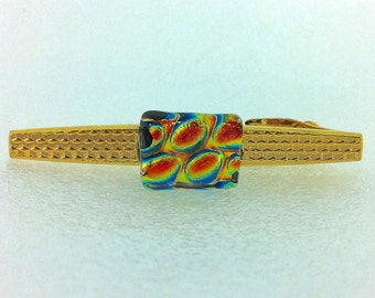 Tie Clip Gold Tone with Dichroic Glass Detail ... Textured Pattern Bar with Hinged Clip.. Copper Golden Green Blue Oblong Stone  (2)