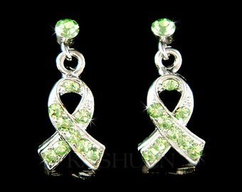 Swarovski Crystal Lime Green Lymphoma Honor Newtown victims cerebral palsy Awareness Lyme Disease STD Ribbon Charm Post Earrings Jewelry New