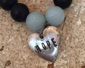Hope Black Beaded Stretch Bracelet