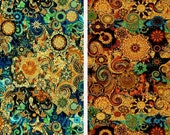 Artist Made Quilting Fabric By The Yard 2 Large Panels Golden Fall Sky Celestial Kaleidoscope