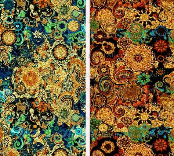 Artist made quilting fabric by the yard 2 large panels golden for Celestial fabric by the yard