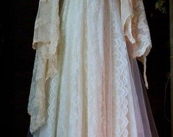 Valentines Sale Ivory wedding dress beaded  tiered antique  lace tulle fairytale crinoline  vintage  bride  romantic medium by vintage opule