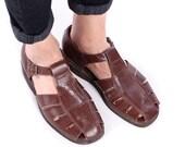 Mens FISHERMAN Sandals 70s Vintage Huarache Footwear Brown Retro Leather Gladiator Cage Shoes Summer Hipster Gift sz US 10 Eur 44 UK 9.5