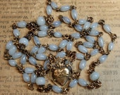 Vintage Reuse Rosary Chain Milky Glass Sacred Heart Connector