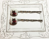 Fabric Covered Kittens Look Back Bobby Pins, Cat Bobby Pin, Cat Hair Pins, Cute Cat Hair Accessories, Cat Lover Gifts, X'mas Gift, Cute Gift
