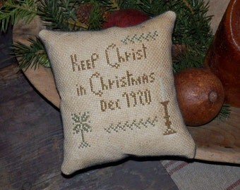 PriMiTiVe - - KeEp ChrIsT in ChRisTmaS - - EaRLy LoOk CrOSs STiTcH ChrisTmAs CupBoaRd TucK