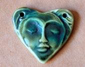 Sweet Ceramic Face in a  Heart 2 holed link Bead - moss green Serene Goddess Bead