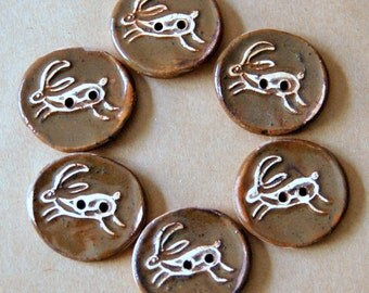 6 Handmade Ceramic Buttons -  Leaping Hare Stoneware Buttons in  Brown glaze - Charming Rustic Folk Art Focal Buttons