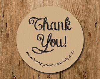 Customized Stickers -Thank You Kraft Brown Stickers - Labels - Wedding - Birthday Party - Thank You Stickers