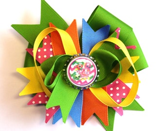 Boutique Bottle Cap Green and Pink Shopkins Inspired Hair Bow Clip