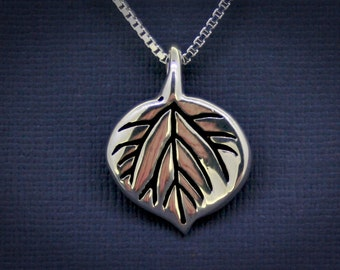 Aspen Leaf Necklace in Sterling Silver