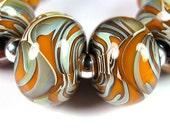 Lampwork Boro Beads, Pumpkin, Orange, Lampwork Glass Beads, BBGLASSART - Lampwork Boro Glass Beads, Tangerine Grove