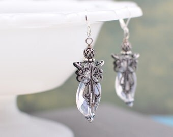 Silver Filigree and Crystal Angel Earrings