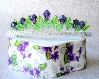 Thistle Bridal Crystal Crown Wedding Tiara Scottish Bride Purple Headpiece Renaissance Hairpiece Amethyst Diadem Reign Mary Queen of Scots