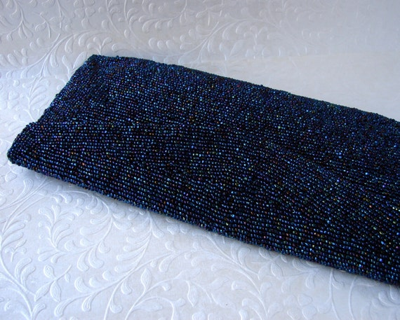 Bag By Josef Midnight Peacock Blue Vintage Beaded Purse Carnival Glass Envelope Clutch Formal Cocktail Handbag Wedding Bridal Prom Evening