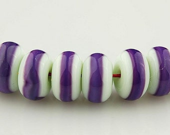 Very Pale Green with Purple Stripe Handmade Lampwork Glass Bead Set by Lara