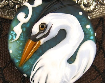 NEW Lampwork Heron Focal Bead by Kerribeads