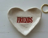 Valentine Gift Bridesmade Gift Best Friend Small Heart Shaped Dish Trinket Dish Jewelry Dish In stock in Red ready to ship.