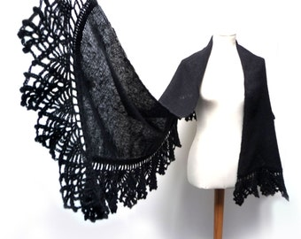 Handwoven and Crochet Shawl Scarf - Black Kid Mohair Stole with Crochet Lace Borders