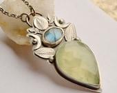 ON SALE Prehnite Necklace Handmade in Silver, Bold Metalwork, Labradorite Necklace, Handmade Artisan Jewelry, Boho Jewelry, Bohemian Style