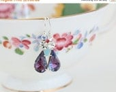Sale - Purple Vintage Jewels, Jewel Earrings, Purple and Clear Glass Earrings, Hollywood Style, Evening Wear, Gift For Woman, Valentines Gif